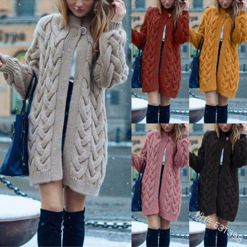 Maternity Sweater Women's Casual Solid Color Single Button Cardigan Long Sweater Autumn Winter Loose Lantern Sleeve Knitted Sweater