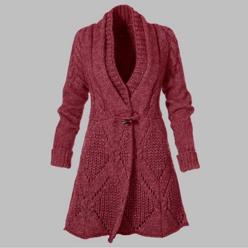 Knitted Maternity Sweater Cardigan Pregnant Women Fall Fashion V-Neck Long Sleeve Plus Size Solid Loose Horn Buckle Sweaters