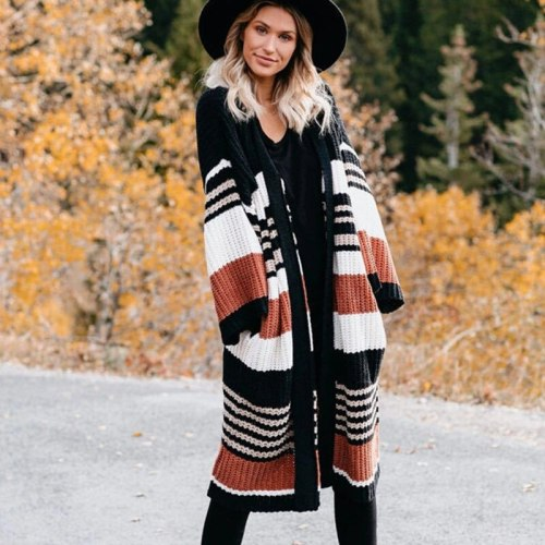 New Pregnant Women Winter Maternity Sweater Cardigans Fashion Three Quarter Sleeve Female Knitted Stripe Color Matching Standard Cardigan Coat