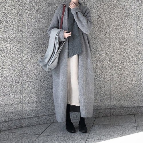 New Long Maternity Cardigan Pregnant Women Elegant Ladies Loose Ribbed Knitted Oversize Sweaters Fashion Long Coat Autumn Winter