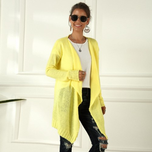 Maternity Women's Sweater New Fashion Spring/Autumn V-neck Cardigan Solid Color Irregular Knitted Long Sleeves Yellow Cardigan