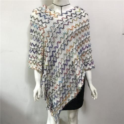 Pregnant Women Irregular Cloak Shawl Lazy Style V-neck Solid Wavy Fringe Capes Sweater Pullover