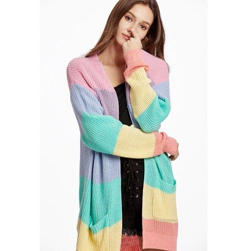 New Loose Long Knit Large Size Stripe Maternity Women's Clothing Sweater Coat Cardigan