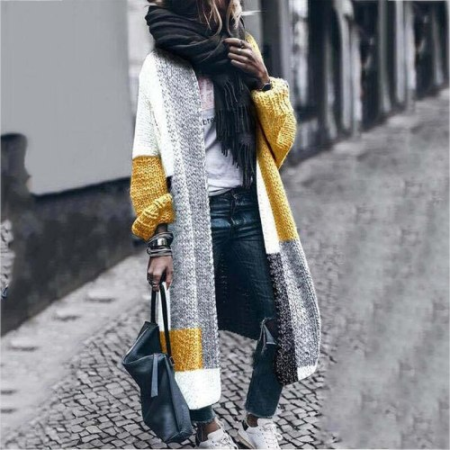 Knit Contrast Patchwork Vintage Maternity Long Sweater Cardigan Women Long Sleeve Fashion Autumn Winter 2021 New England Style