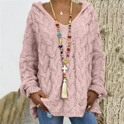 Maternity Women Sweaters Plus Size Hooded Causal Long Sleeve Loose Knit Coat Winter Fashion Striped Ladies Knitted Wear S-3XL