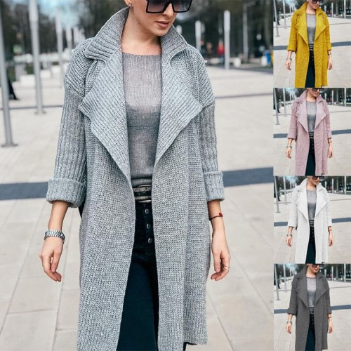 2021 Casual Winter Warm Long Pregnant Women's Sweater Lapel Solid Color Long Sleeve Sweaters Jacket Loose Fashion Knit Top Windbreake