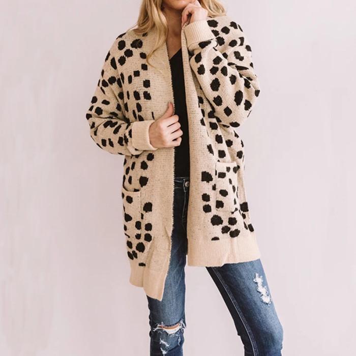 2021 Two Color Maternity Long Cardigan Leopard Print Cardigan