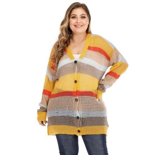 Multicolor Long Cardigan Maternity Women Autumn Winter Long Sleeve Knit Sweater Plus Size Jumper Coat