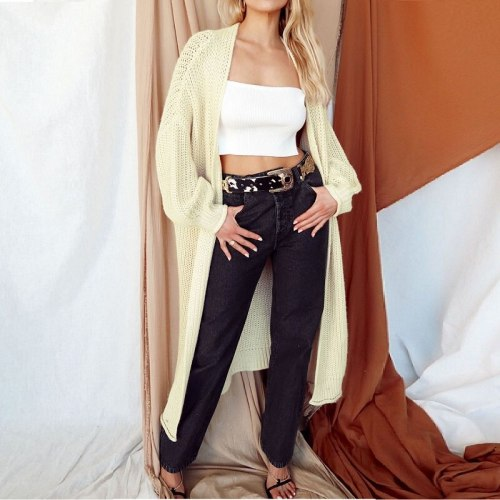 Midi plus size maternity sweater women cardigan for winter 2021 new Vneck solid loose casual sweet chic long knitted cardigan women's coat