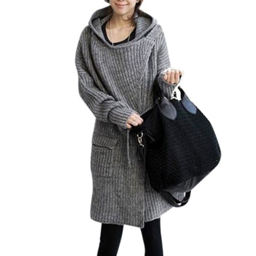 Autumn Winter Maternity Women Sweater Coats Grey Korean-style Hooded Casual Long Cardigan Sashes Open Front Pockets Knitted Outwear