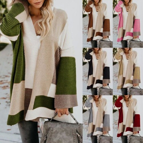 2021 New Pregnant sweater maternity women's large size loose geometric color matching sweater cardigan