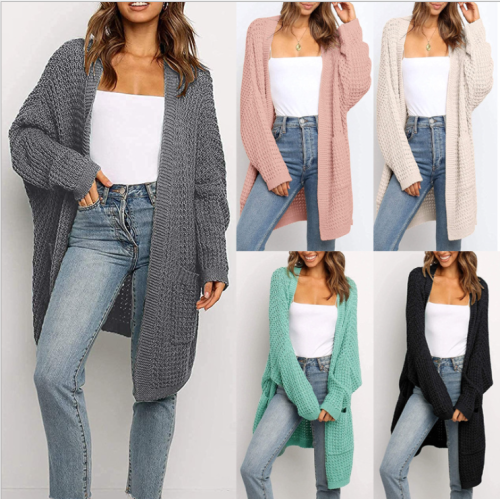 2021 New Maternity Autumn/winter Solid Color Loose Cardigan Cross-border European and American Large Size Knitwear