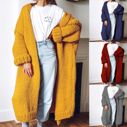 2021 Maternity Casual Thicken Long Knitted Cardigan Sweater Women Vintage Loose Sweater Coat Solid Oversized Jumper Outwear Autumn Winter