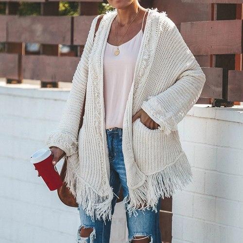 Maternity Autumn Winter White Cardigans Tops Women Casual Loose Long Sleeve Irregular Hem Tassel Cardigan Sweaters