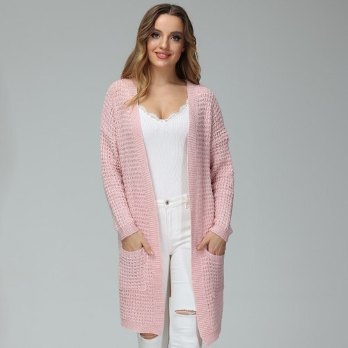 2021 Autumn And Winter Maternity Women Knitted Cardigan Adult Loose Large Solid Color Sweater Ladies Casual Cardigan Sweater Knitted Coat