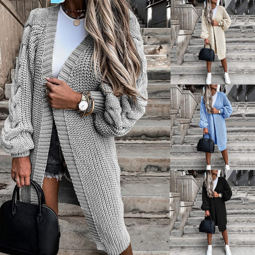 New Loose Knitted Cardigan Sweater For Women Open Stitch Long Sleeve Autumn Spring Coat Solid Casual Cardigan Oversize Coat