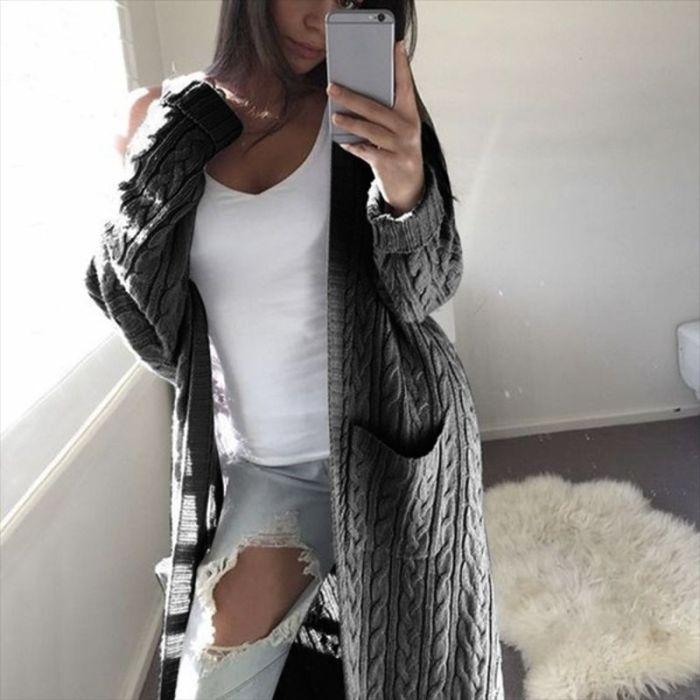 Hot Women Long Cardigan Sweater Top Long Sleeve loose knitting cardigan sweater Women Knitted Female Cardigan pull femme