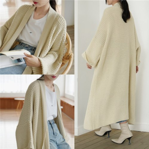 Autumn and Winter Loose Extra-Long Knitted Cardigan  Thick Plus Size Fluffy Sweaters Coat  Casual Buckle Over Knee Knitwear