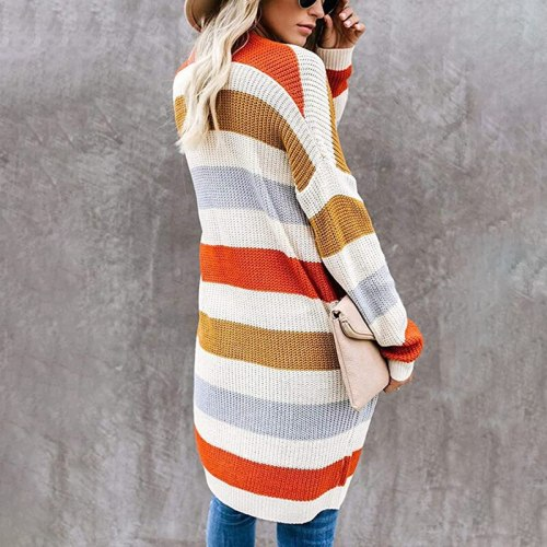 Women Spring Autumn Sweater 2021 Long Cardigan European Slim Pocket Loose Striped Patchwork Knit Sweater Outwear Plus Size Coats