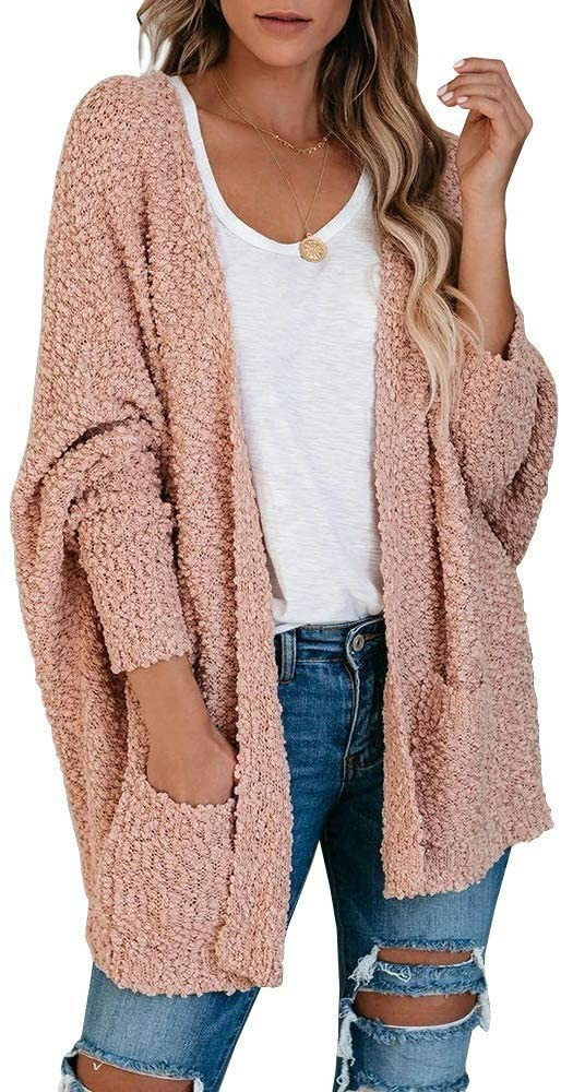 2021 Winter Women Cardigan Casual Loose Batwing Sleeve Solid Color Pockets Knitted Long Coat Fashion Slim Sweaters
