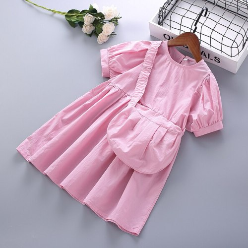 4-10 Years High Quality Summer Girl Clothing 2021 New Fashion Casual Solid Kid Children Girl Dress with Bags