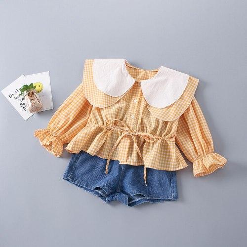 2-7 Years High Quality Spring Girl Clothing Set 2021 New Fashion Casual Plaid Shirt + short Jeans Kid Children Girls Clothing