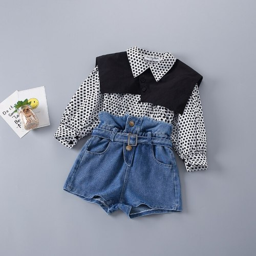 2-7 Years High Quality Spring Girl Clothing Set 2021 New Fashion Casual Dot Shirt + short Jeans Kid Children Girls Clothing