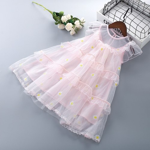 3-7 Years High Quality Summer Girl Dress 2021 New Lace Chiffon Solid Draped Ruched Kid Children Clothing Girl Princess Dresses