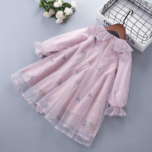 3-7 years High Quality Spring Girl Dress 2021 Fashion Chiffon Flower Draped Ruched Kid Children Clothing Girl Princess Dress