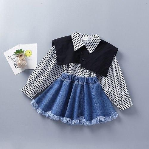 2-7 Years High Quality Spring Girl Clothing Set 2021 New Fashion Casual Dot Shirt + Skirt Kid Children Girls Clothing