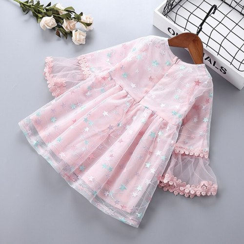 0-6 years High quality girl dress 2019 new spring new casual party chiffon lace mesh kid children girl clothing princess dresses