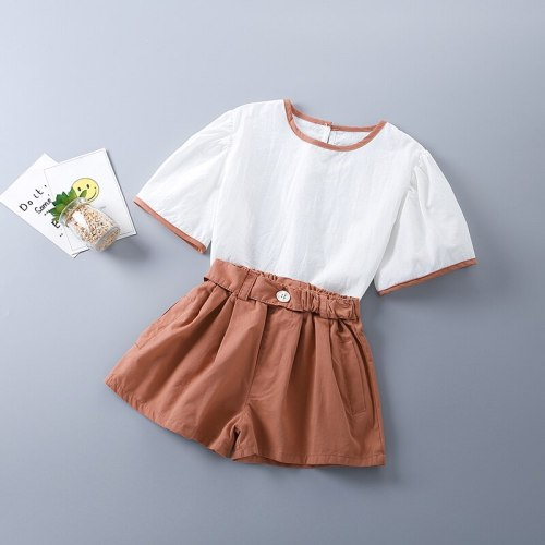 2-7 Years High Quality Summer Girl Clothing Set 2021 New Fashion Casual Solid Shirt + Pants Kid Children Girls Clothing