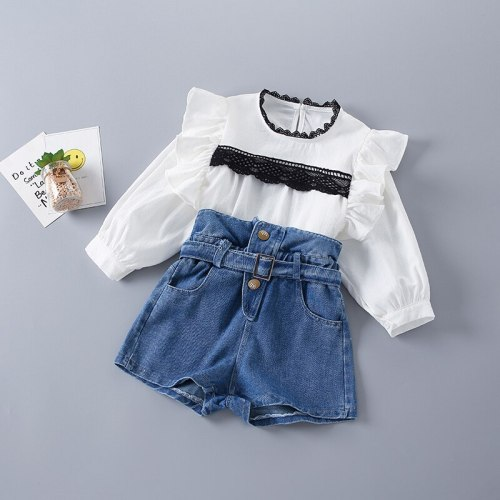 2-7 Years High Quality Spring Girl Clothing Set 2021 New Fashion Casual Lace Shirt + short Jeans Kid Children Girls Clothing