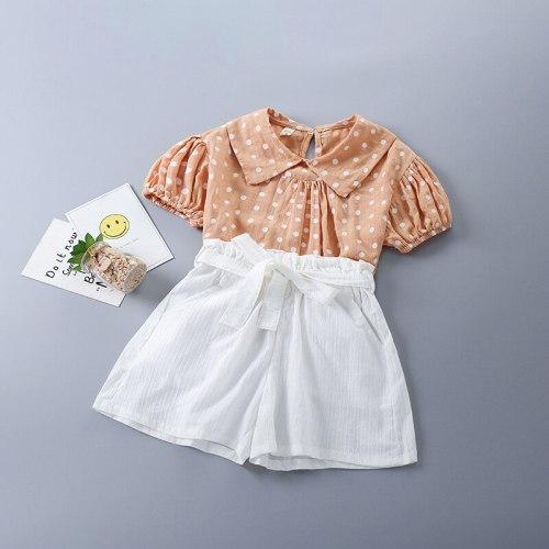2-7 Years High Quality Summer Girl Clothing Set 2021 New Fashion Casual Dot Shirt + Short Pant Kid Children Girls Clothing