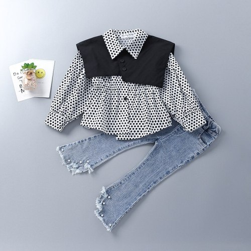 2-7 Years High Quality Spring Girl Clothing Set 2021 New Fashion Casual Dot Shirt + Jeans Kid Children Girls Clothing
