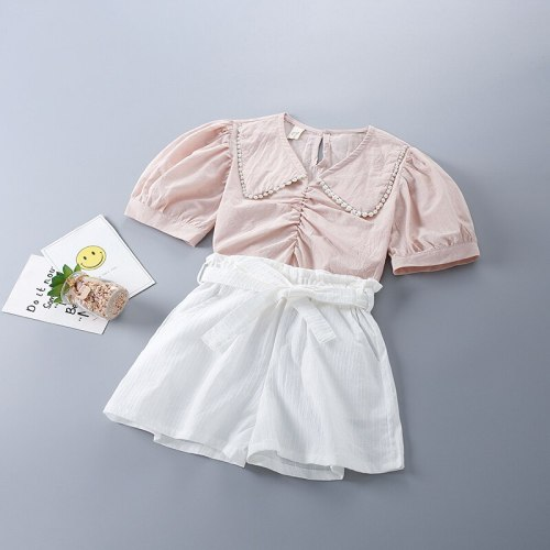 2-7 Years High Quality Spring Girl Clothing Set 2021 New Fashion White Solid Shirt +Short Pant Kid Children Girls Clothes