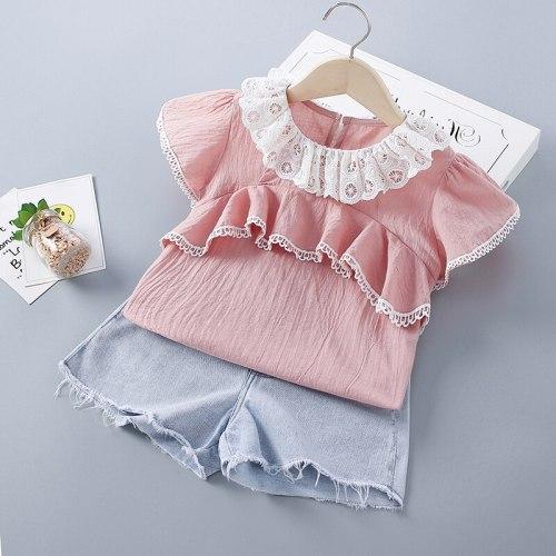 2-7 Years High Quality Summer Girl Clothing Set 2021 New Fashion Casual Solid Shirt + Denim Pants Kid Children Girls Clothing