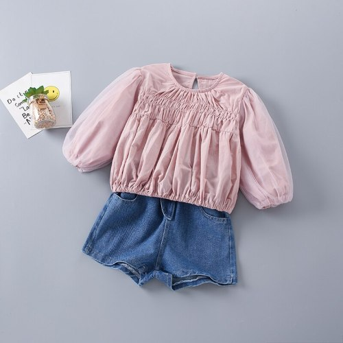 2-7 Years High Quality Spring Girl Clothing Set 2021 New Fashion Casual Solid Shirt + short Jeans Kid Children Girls Clothing