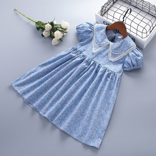 Summer Dress Puff-Sleeve Lapel Collar Floral Printed Princess Dresses New Fashion Kids Clothes Girls Dress 4-7 Years