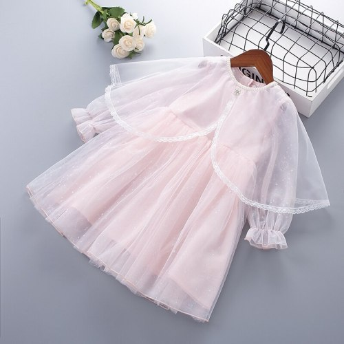 4-10 Years High Quality Spring Girl Dress 2021 New Chiffon Flower Draped Ruched Kid Children Clothing Girl Princess Dress