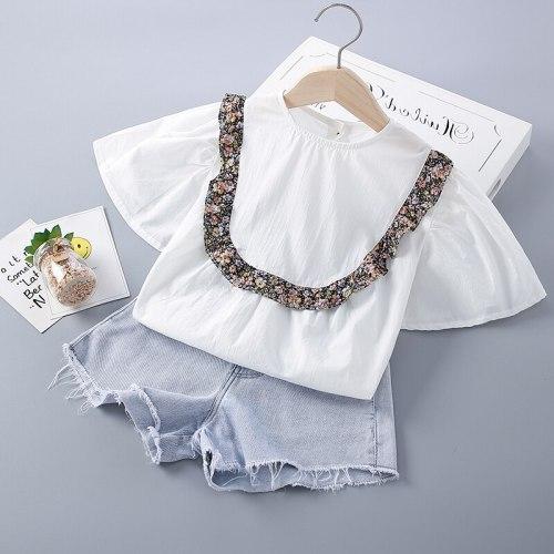 2-7 Years High Quality Summer Girl Clothing Set 2021 New Fashion Casual Floral Shirt + Denim Pants Kid Children Girls Clothing