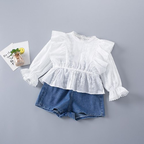 2-7 Years High Quality Spring Girl Clothing Set 2021 New Fashion Casual Floral Solid Shirt + Jeans Kid Children Girls Clothing
