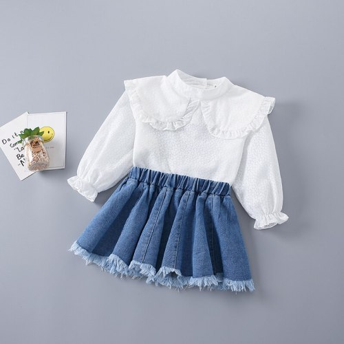 2-7 Years High Quality Spring Girl Clothing Set 2021 New Fashion Casual Cute Shirt + Denim Skirt Kid Children Girls Clothing