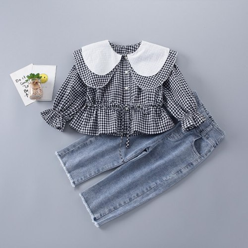 2-7 Years High Quality Spring Girl Clothing Set 2021 New Fashion Casual Plaid Shirt + Jeans Kid Children Girls Clothing
