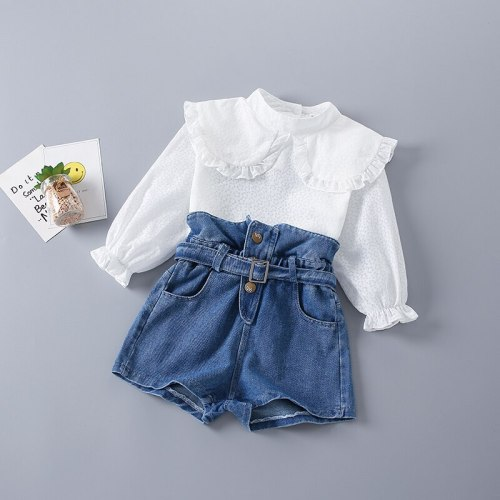 2-7 Years High Quality Spring Girl Clothing Set 2021 New Fashion Casual Cute Shirt + short Jeans Kid Children Girls Clothing
