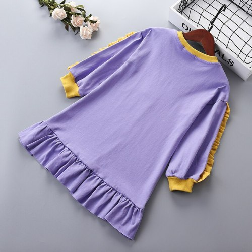3-10 years High quality girl dress 2021 spring new fashion casual active full sleeve  kid children girl clothing princess dress