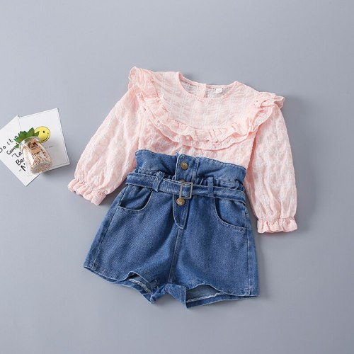 2-7 Years High Quality Spring Girl Clothing Set 2021 New Fashion Casual Plaid Solid Shirt + Jeans Kid Children Girls Clothing