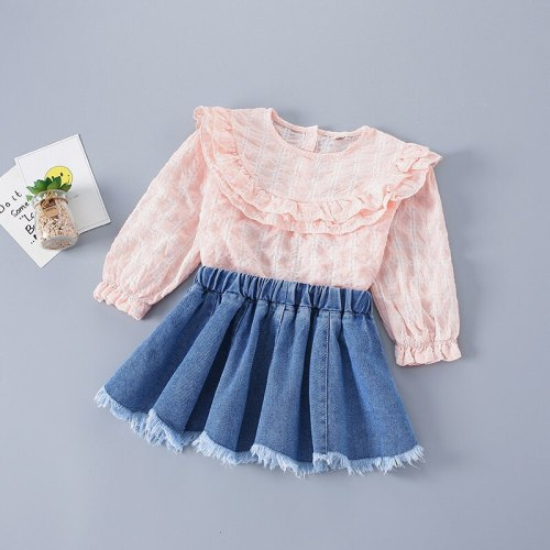 2-7 Years High Quality Spring Girl Clothing Set 2021 New Fashion Plaid Solid Shirt + Denim Skirt Kid Children Girls Clothing