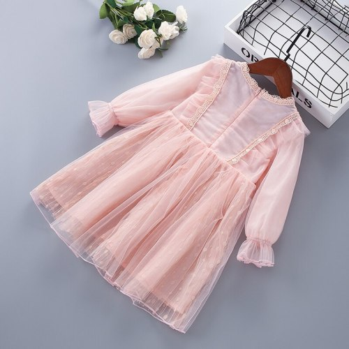 3-7 Year High Quality Spring Girl Dress 2021 New Lace Chiffon Flower Draped Ruched Kid Children Clothing Girl Princess Dress