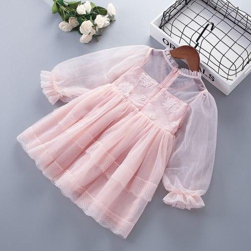 3-7 Years High Quality Spring Girl Dress 2021 New Chiffon Flower Draped Ruched Kid Children Clothing Girl Princess Dress